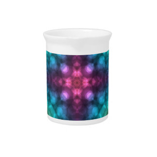 Modern Fractal Art with Cross and Bokeh Beverage Pitchers