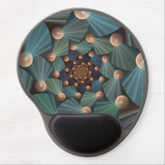 Modern Fractal Art With Depth, Brown, Slate, Blue Gel Mouse Pad