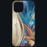 """Modern Fractal Blue Gold Handwritten Name iPhone 12 Pro Max Case<br><div class=""""desc"""">This design is also available on other phone models. Choose Device Type to see other iPhone, Samsung Galaxy or Google cases. Some styles may be changed by selecting Style if that is an option. This design may be personalized in the area provided by changing the photo and/or text. Or it...</div>"""