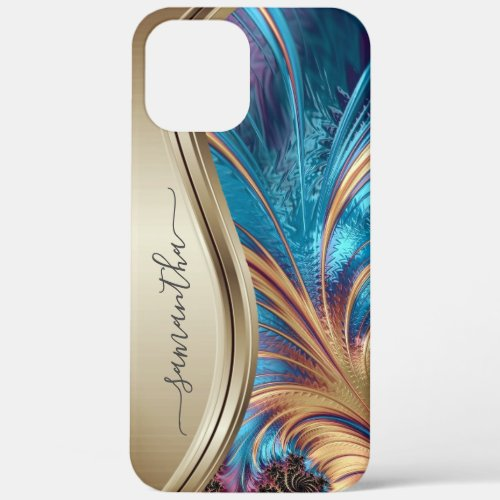 Modern Fractal Blue Gold Handwritten Name iPhone 12 Pro Max Case