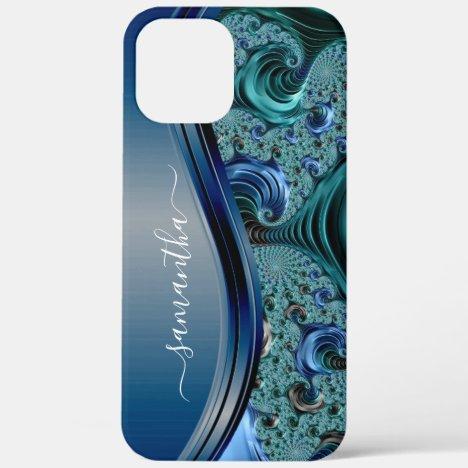 Modern Fractal Blue Handwritten Name iPhone 12 Pro Max Case