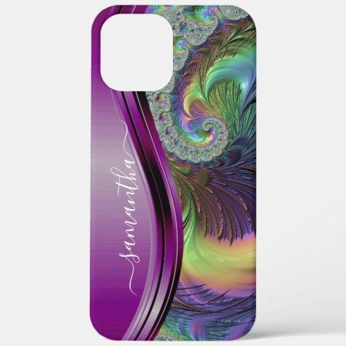 Modern Fractal Purple Handwritten Name iPhone 12 Pro Max Case