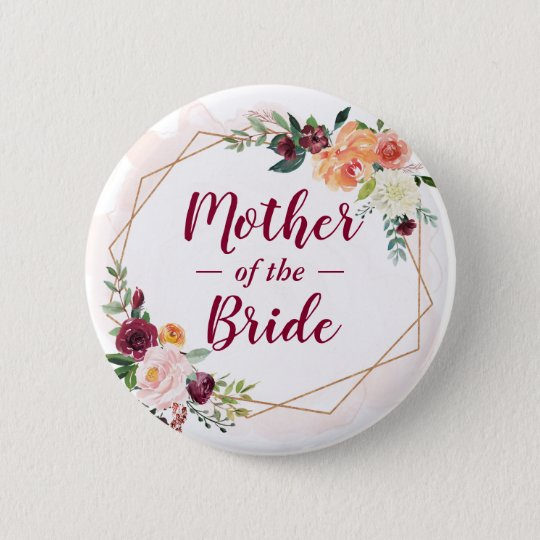 Modern Frame Floral Mother of the Bride Groom Button | Zazzle.com