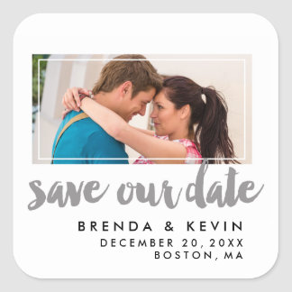 Modern Frame | Photo Save the Date Stickers