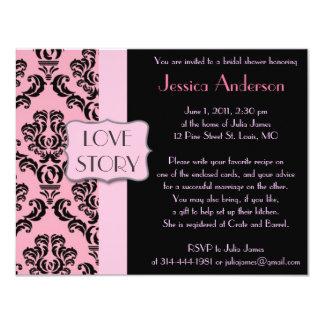 "Modern French Damask Bridal Shower Invitations 4.25"" X 5.5"" Invitation Card"