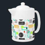 "Modern Fresh Bright Geometric Patterned Teapot<br><div class=""desc"">A trendy clean fresh modern geometric funky shapes design inspired by retro mid century patterns in on trend shades of green,   orange,  yellow,  blue,  black and white. Fabulous trendy yet stylish pattern lovely for a modern home.</div>"