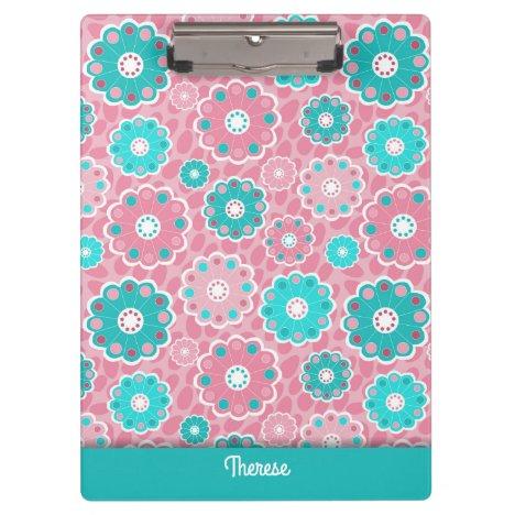 Modern fresh pink aqua personalized clipboard