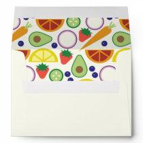 Modern Fruits and Vegetables Custom Patterned Envelope