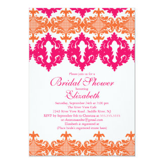Modern Fuchsia & Orange Damask Bridal Shower 5x7 Paper Invitation Card