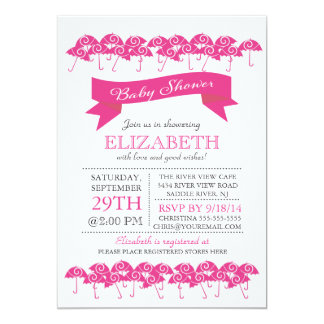 Modern Fuchsia Pink Umbrella Girls Baby Shower Card