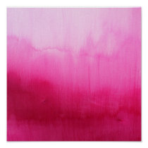 Modern fuchsia watercolor paint brushtrokes poster