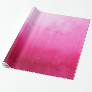 Modern fuchsia watercolor paint brushtrokes wrapping paper