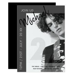 Male 21st birthday invitations announcements zazzle modern fun 21st birthday photo male invites filmwisefo Images