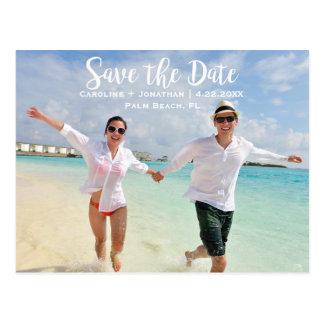Modern Fun Beach Photo Wedding Save the Date Postcard