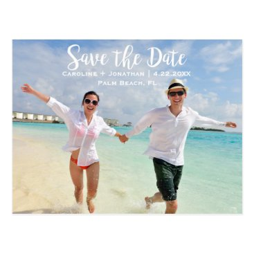 Beach Themed Modern Fun Beach Photo Wedding Save the Date Postcard