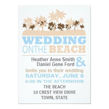 Beach Themed Modern Fun Beach Wedding Theme Invitations