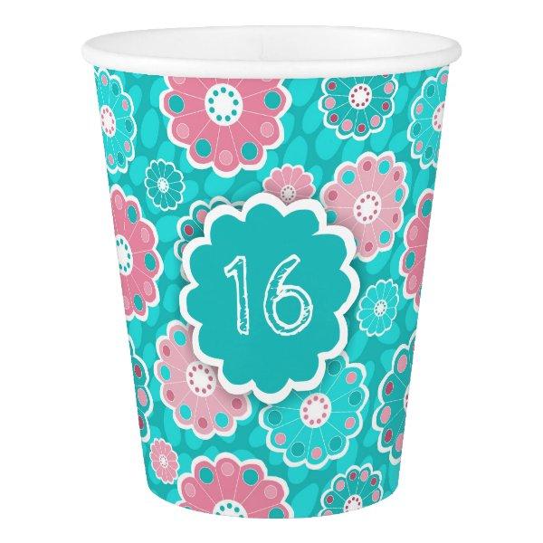Modern fun floral pink and aqua paper cup