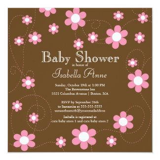 Modern & Fun Flowers Floral Baby Shower Card