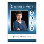 Modern Fun Graduation Party Custom Photo Blue Personalized Invite
