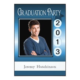 Modern Fun Graduation Party Custom Photo Blue 5x7 Paper Invitation Card