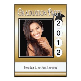 Modern Fun Graduation Party Custom Photo Gold 5x7 Paper Invitation Card