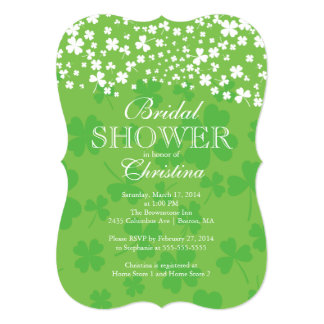 Modern Fun Irish Shamrock Bridal Shower Card