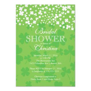 Modern Fun Irish Shamrock Bridal Shower Card at Zazzle