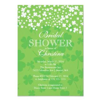 "Modern Fun Irish Shamrock Bridal Shower 4.5"" X 6.25"" Invitation Card"