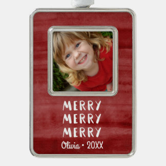 Modern Fun Merry Merry Christmas Holiday Photo Silver Plated Framed Ornament