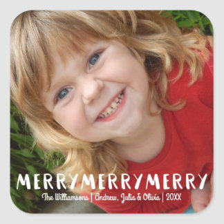 Modern Fun Merry Merry Christmas Holiday Photo Square Sticker