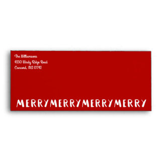 Modern Fun Merry Merry Christmas Red Holiday Envelope