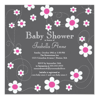 Modern & Fun Pink Flowers Flora Girls Baby Shower Card