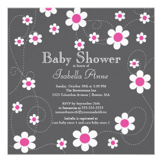 Modern Fun Pink Flowers Flora Girls Baby Shower Personalized Invites