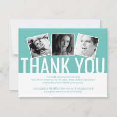 Modern Funeral Thank You Note | Teal 3 Photo