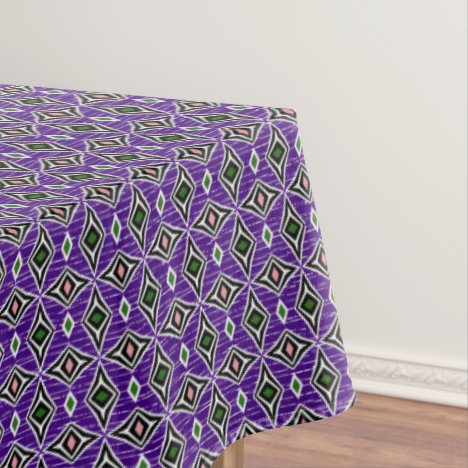 Modern funky contemporary diamond purple green tablecloth
