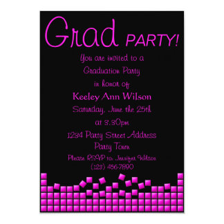 Modern, Funky Hot Pink Mosaic Graduation Party Card