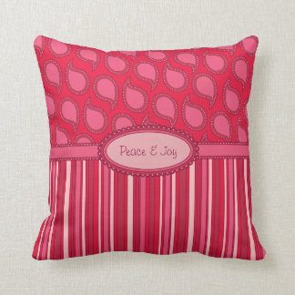 Modern Funky Paisley Pattern in Pinks Throw Pillow