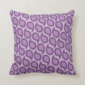 Modern Funky Paisley Pattern in Purples Throw Pillow