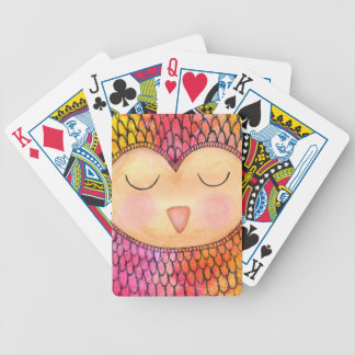 Modern Funky Sleepy Owl Mixed Media Painting Bicycle Playing Cards