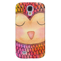 Modern Funky Sleepy Owl Mixed Media Painting Galaxy S4 Case