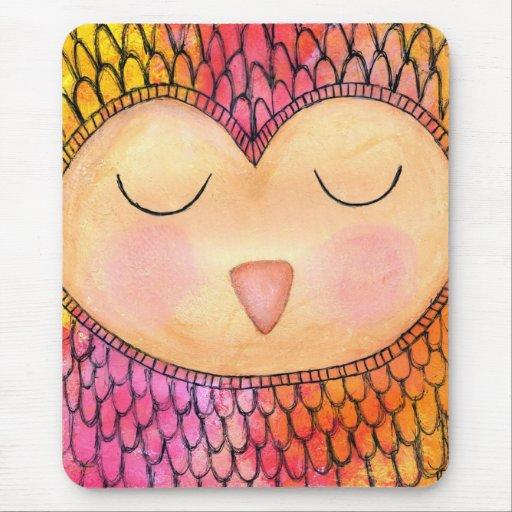Modern Funky Sleepy Owl Mixed Media Painting Mousepad