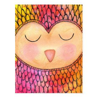 Modern Funky Sleepy Owl Mixed Media Painting Postcard
