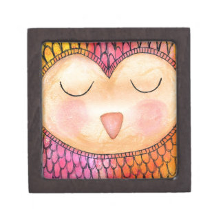 Modern Funky Sleepy Owl Mixed Media Painting Premium Trinket Box