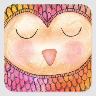 Modern Funky Sleepy Owl Mixed Media Painting Square Sticker
