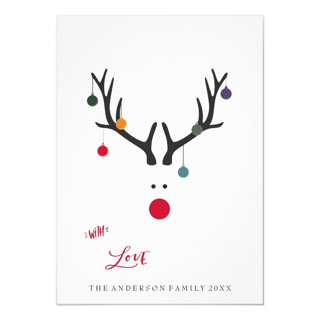 Modern funny abstract Christmas reindeer on white