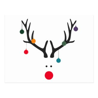 Modern funny abstract Christmas reindeer on white