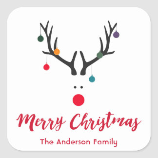 Modern funny Christmas reindeer on white Square Sticker