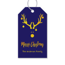 Modern funny cute Christmas gold reindeer on blue Gift Tags