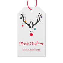 Modern funny cute Christmas reindeer on white Gift Tags