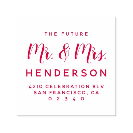 Modern Future Mr & Mrs Script Return Address Self-inking Stamp